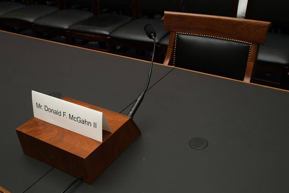 A name plate for McGahn sits on the witness table prior to a House Judiciary Committee hearing in which he was subpoenaed to testify May 21, 2019, on Capitol Hill. President Donald Trump directed McGahn not to comply with the subpoena. (Photo: Alex Wong via Getty Images)