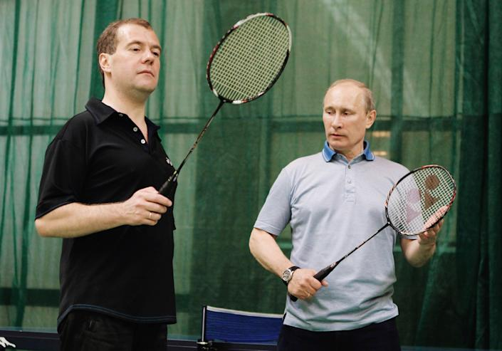 Putin plays badminton with then-Russian President Dmitry Medvedev in the Gorky House outside Moscow, Russia, on June 11, 2011.
