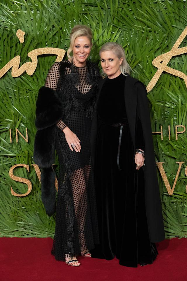 <p>The award for positive change went to Dior's first ever female creative director, Maria Grazia Chiuri.<br />Renowned for her feminist stance and highly-covetable collections, it's hardly surprising. The designer was presented the Swarovski award by Bianca Jagger. <em>[Photo: Getty]</em> </p>