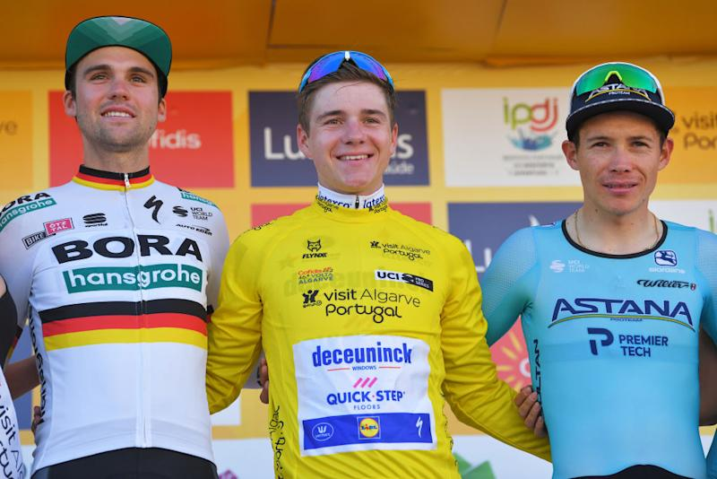 LAGOA PORTUGAL FEBRUARY 23 Podium Maximilian Schachmann of Germany and Team BoraHansgrohe Remco Evenepoel of Belgium and Team Deceuninck Quick Step Yellow Leader Jersey Miguel ngel Lpez of Colombia and Team Astana Pro Team Celebration during the 46th Volta ao Algarve 2020 Stage 5 a 203km Individual Time Trial stage from Lagoa to Lagoa ITT VAlgarve2020 on February 23 2020 in Lagoa Portugal Photo by Tim de WaeleGetty Images