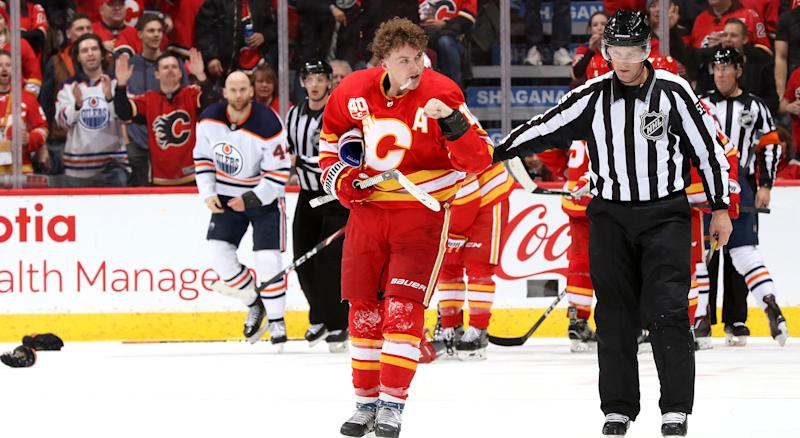 CALGARY, ALBERTA - JANUARY 11: Matthew Tkachuk #19 of the Calgary Flames skates away after a fight against Zack Kassian #44 of the Edmonton Oilers at Scotiabank Saddledome on January 11, 2020 in Calgary, Canada. (Photo by Gerry Thomas/NHLI via Getty Images)