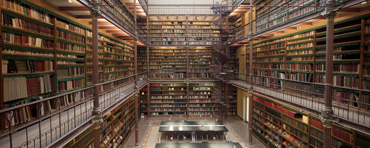 Known for its impressive holdings of Dutch Golden Age paintings, including Rembrandt's <em>The Night Watch,</em> the Rijksmuseum is home to the country's largest public art history research library—and a seriously vertiginous spiral staircase.