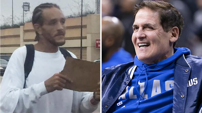 A 50-50 image shows Delonte West on the streets in Dallas on the left, and Dallas Mavericks owner Mark Cuban on the right.