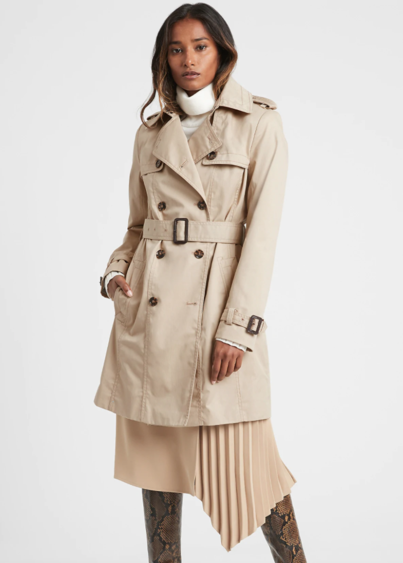 Banana Republic's water-repellant trench is a practical option for those looking to channel Meghan Markle's classic-style.