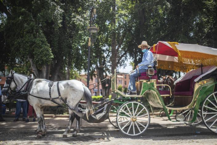 Abdeljalil Belghouate, a horse carriage owner, waits for customers in the landmark Jemma el-Fnaa in Marrakech, Morocco, Wednesday, July 22, 2020. (AP Photo/Mosa'ab Elshamy)