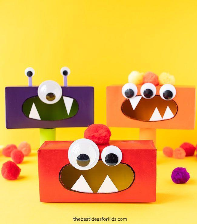 "<p>Create a monster mash of your own with tissue boxes, paint, googly eyes, and pom poms. It's up to them whether or not they want to make a one-eyed, one-horned, flyin' purple people eater or something more friendly.</p><p><em><a href=""https://www.thebestideasforkids.com/tissue-box-monsters/"" rel=""nofollow noopener"" target=""_blank"" data-ylk=""slk:Get the tutorial at The Best Ideas for Kids »"" class=""link rapid-noclick-resp"">Get the tutorial at The Best Ideas for Kids »</a></em></p>"