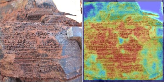 A photo of a stromatolite (left) from Western Australia analyzed by TextureCam (right). The program assigns a color to each patch in the image according to how it matches the criteria for stromatolite rocks (red means good match, or high proba