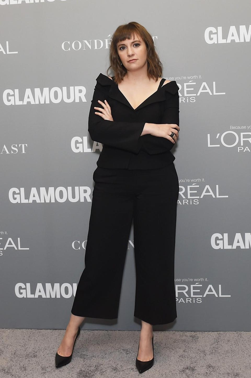 <p>Lena looked incredible in a black tailored suit with little style details including a cropped trouser and off-the-shoulder jacket adding a touch of glamour. <i>[Photo: Getty]</i> </p>