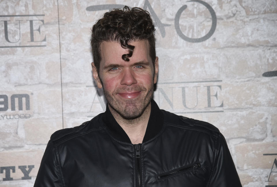 Perez Hilton arrives at the TAO, Beauty and Essex, Avenue and Luchini Los Angeles grand opening on Thursday, March 16, 2017. (Photo by Chris Pizzello/Invision/AP)