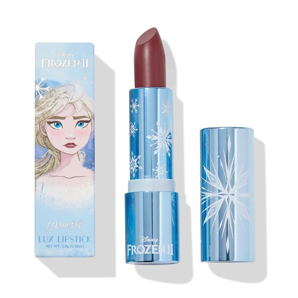 """<p>What could be more wintry than a lipstick inspired by <em>Frozen</em>? Colourpop's collaboration with Disney includes this creamy, limited-edition raspberry color that holds on for hours yet keeps lips comfortable with moisturizing butters — exactly what lips need in cold, drying weather.</p> <p><strong>$9</strong> (<a href=""""https://colourpop.com/products/little-snow-lux-lipstick"""" rel=""""nofollow"""">Shop Now</a>)</p>"""