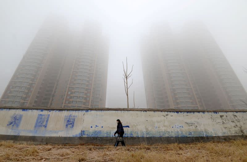 FILE PHOTO: Woman wearing a mask walks past buildings on a polluted day in Hebei