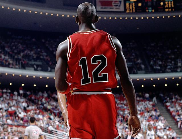 Michael Jordan averaged 49 points wearing No. 12. (Andrew D. Bernstein/NBAE/ Getty Images)