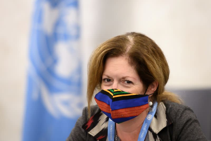 FILE PHOTO: Deputy Special Representative of the UN Secretary-General for Political Affairs in Libya Stephanie Williams wearing a face mask attends the talks between the rival factions in the Libya conflict at the United Nations offices in Geneva