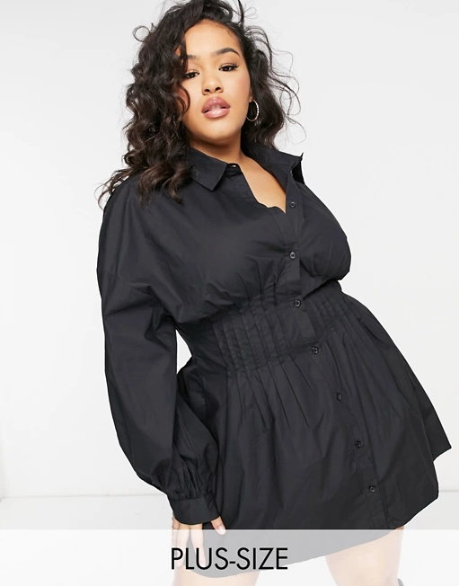 """<br><br><strong>ASOS</strong> Plus-size shirt dress with cinched waist, $, available at <a href=""""https://go.skimresources.com/?id=30283X879131&url=https%3A%2F%2Fwww.asos.com%2Fus%2Fmissguided-plus%2Fmissguided-plus-shirt-dress-with-cinched-waist-in-black%2Fprd%2F22567269%3F"""" rel=""""nofollow noopener"""" target=""""_blank"""" data-ylk=""""slk:ASOS"""" class=""""link rapid-noclick-resp"""">ASOS</a>"""