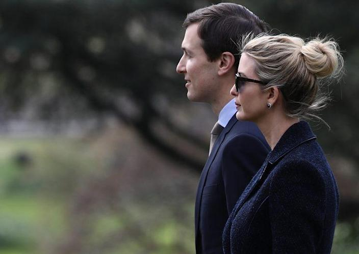 Ivanka Trump and her husband, Jared Kushner, depart the White House with President Trump on March 3. (Photo: Win McNamee/Getty Images)