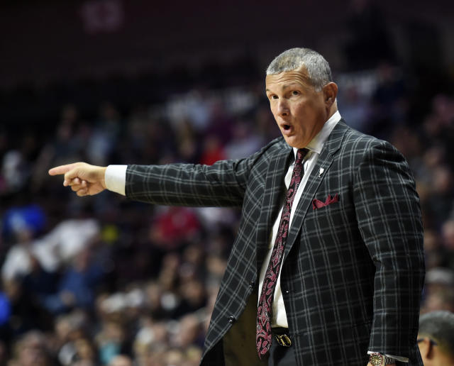 South Carolina head coach Frank Martin directs his team in the second half of an NCAA college basketball game against Providence, Saturday, Nov. 17, 2018, in Uncasville, Conn. (AP Photo/Stephen Dunn)