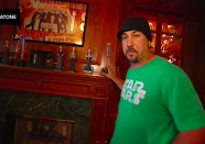 <p>Nothing to see here, just Joey Fatone's shrine to the members of NSYNC. I'm sure Justin Timberlake also has one of these in his home. </p>