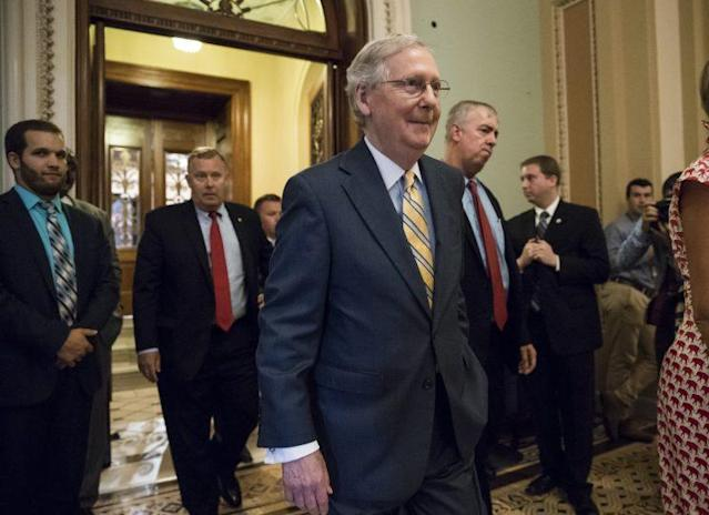 Senate Majority Leader Mitch McConnell, R-Ky., leaves the Senate chamber after announcing the revised version of the Republican health care bill. The bill has been in jeopardy because of opposition within the GOP ranks. (Photo: J. Scott Applewhite/AP)
