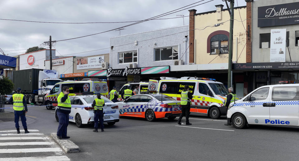 Police a crime scene in Bexley after an elderly man was hit by a truck. Source: supplied