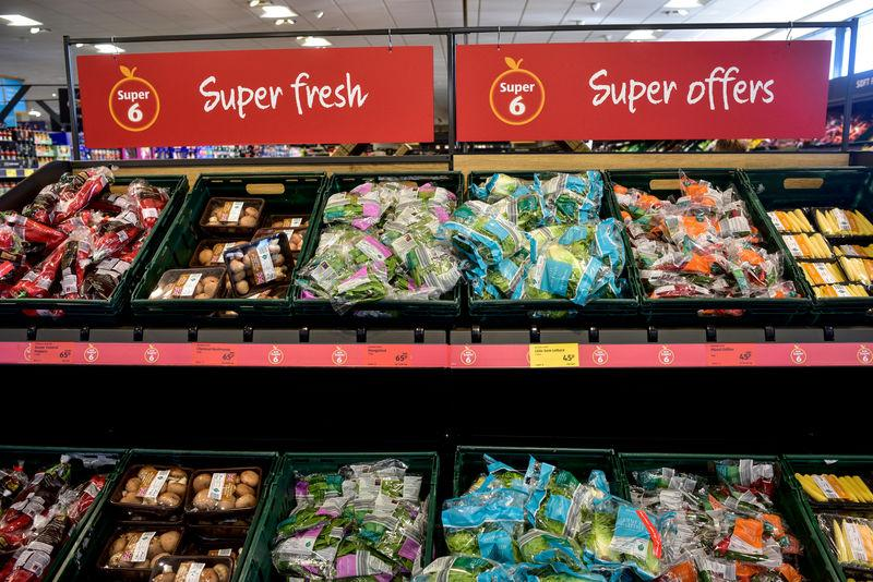 FILE PHOTO: Fresh vegetables on sale in an Aldi store in London