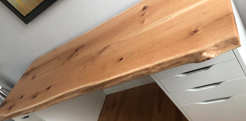 Wood on IKEA shelves