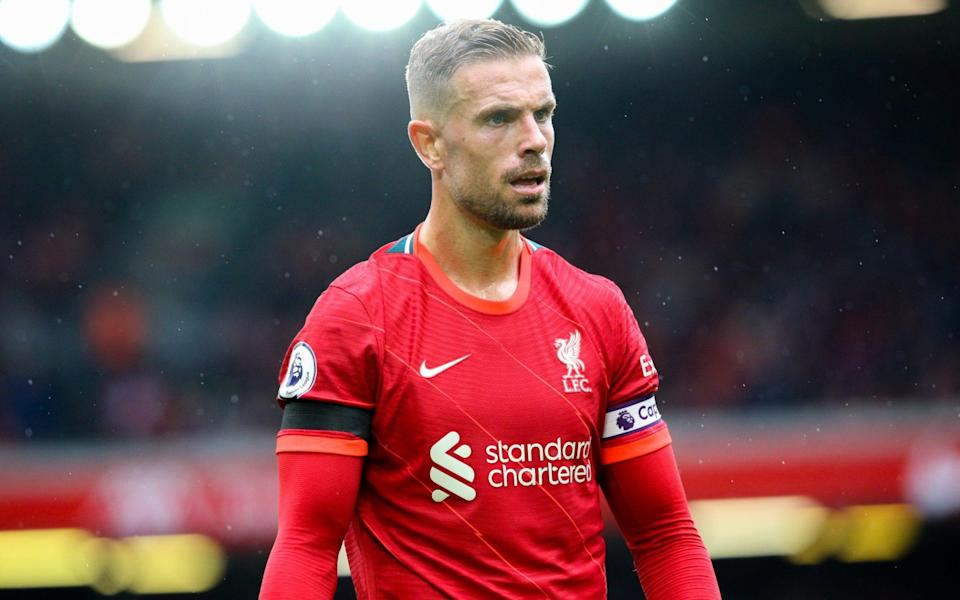 Liverpool's Jordan Henderson during the Premier League match between Liverpool and Burnley at Anfield on August 21, 2021 in Liverpool, Englan - Alex Dodd - CameraSport via Getty Images