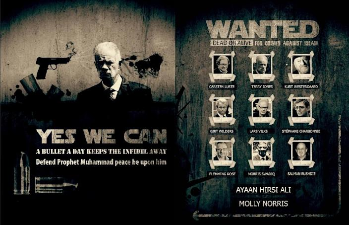 "A 2013 poster from al-Qaeda's online Inspire magazine, lists 11 figures ""wanted dead or alive for crimes against Islam"" including Geert Wilders (AFP Photo/-)"