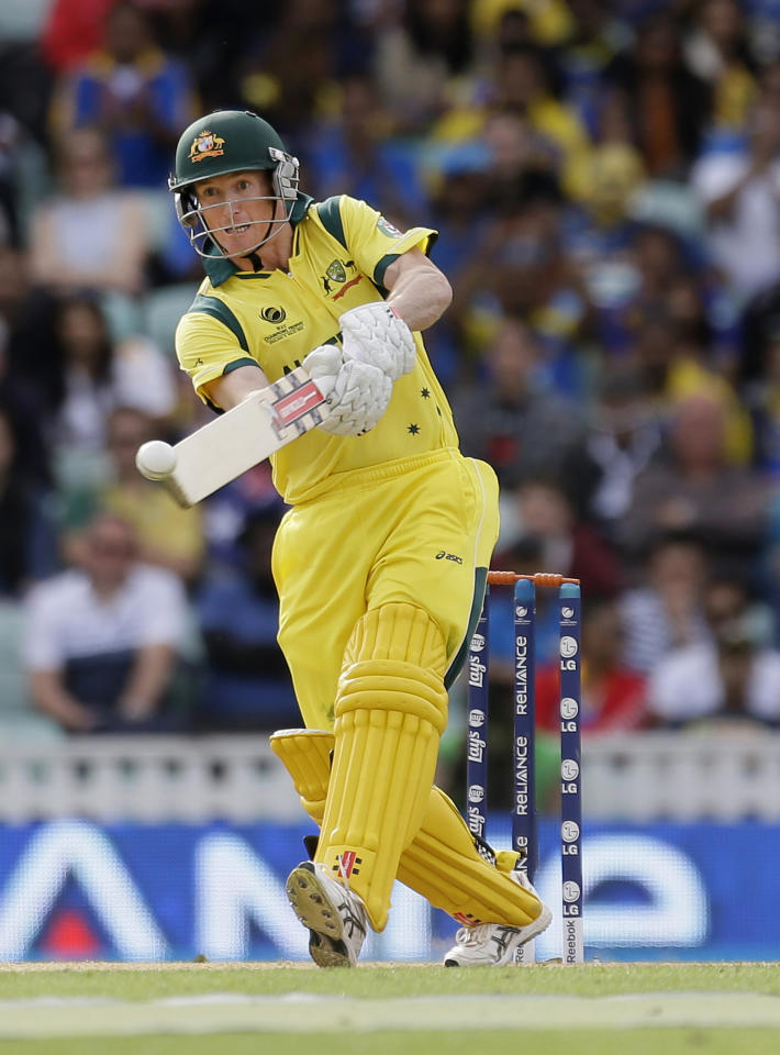Australia's George Bailey hit a ball from Sri Lanka's Lasith Malinga during their ICC Champions Trophy cricket match at the Oval cricket ground in London, Monday, June 17, 2013. (AP Photo/Alastair Grant)