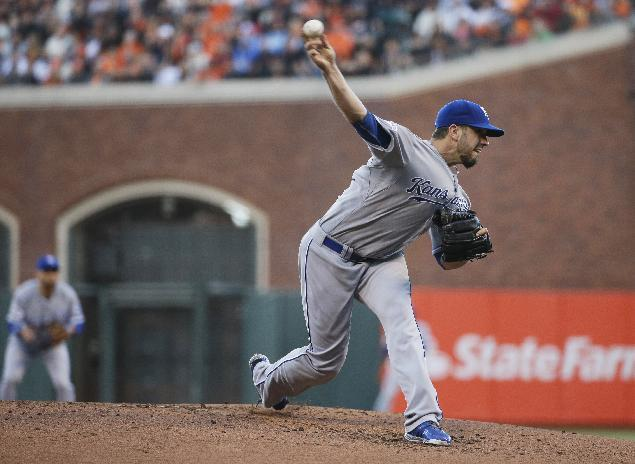 Kansas City Royals pitcher James Shields throws to the San Francisco Giants during the first inning of Game 5 of baseball's World Series Sunday, Oct. 26, 2014, in San Francisco. (AP Photo/Matt Slocum)