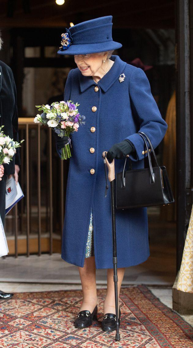 LONDON, ENGLAND - OCTOBER 12: Queen Elizabeth II attends a service of Thanksgiving to mark the centenary of The Royal British Legion at Westminster Abbey on October 12, 2021 in London, England. (Photo by Samir Hussein - Pool/WireImage) (Photo: Pool/Samir Hussein via Getty Images)
