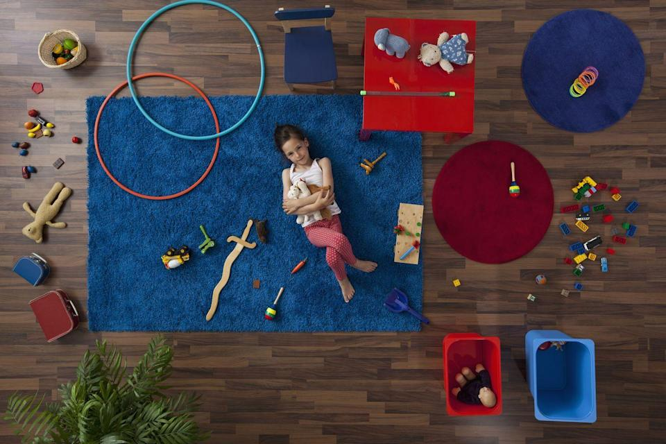 """<p>If your kid's playroom doesn't have a hula hoop, then you need to get one ASAP. Here's why: """"Put a hula hoop on the floor and challenge your kids to pick up everything inside the ring and return it to its proper place. Keep filling it with toys until the floor is completely clear,"""" says Josel. </p><p><a class=""""link rapid-noclick-resp"""" href=""""https://www.amazon.com/US-Games-Standard-Hoops-36-Inch/dp/B00CQ2268O/?tag=syn-yahoo-20&ascsubtag=%5Bartid%7C10063.g.36459111%5Bsrc%7Cyahoo-us"""" rel=""""nofollow noopener"""" target=""""_blank"""" data-ylk=""""slk:SHOP HULA HOOPS"""">SHOP HULA HOOPS</a></p><p><strong>RELATED:</strong> <a href=""""https://www.goodhousekeeping.com/home/organizing/g23781432/toy-organization-storage/"""" rel=""""nofollow noopener"""" target=""""_blank"""" data-ylk=""""slk:10 Toy Storage Organization Ideas That Will Actually Get Kids to Clean Up"""" class=""""link rapid-noclick-resp"""">10 Toy Storage Organization Ideas That Will Actually Get Kids to Clean Up</a></p>"""