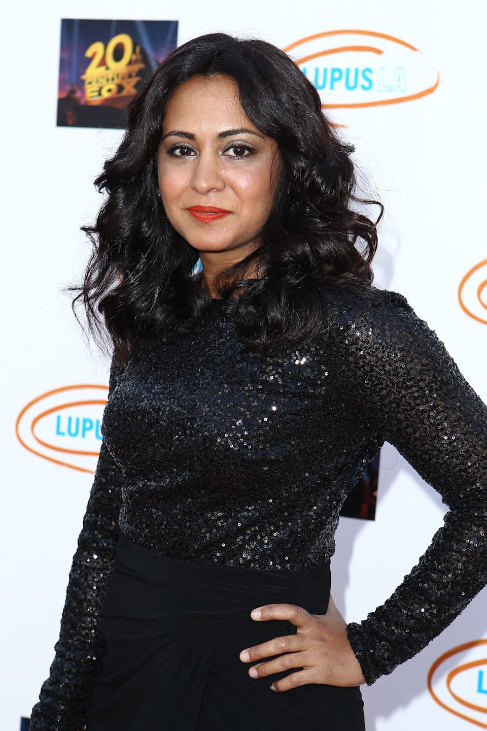 Parminder Nagra arrives at the Lupus LA's Orange Ball: A Night Of Superheroes at Fox Studio Lot on June 6, 2015 in Century City, California.  (Photo by Leon Bennett/WireImage)