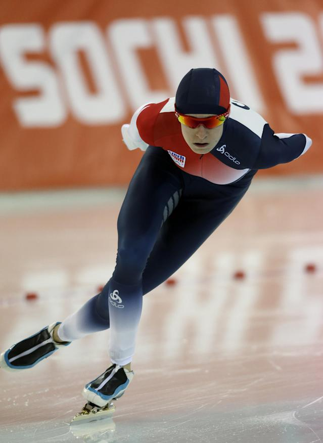 Martina Sablikova of the Czech Republic competes in the women's 3,000-meter speedskating competition at the 2014 Winter Olympics, Sunday, Feb. 9, 2014, in Sochi, Russia. (AP Photo/David J. Phillip )