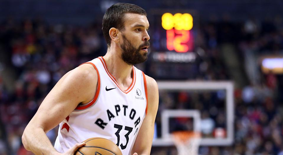 Marc Gasol of the Toronto Raptors, a three-time All-Star, was in some obvious discomfort while playing defence in Detroit on Wednesday. (Photo by Vaughn Ridley/Getty Images)
