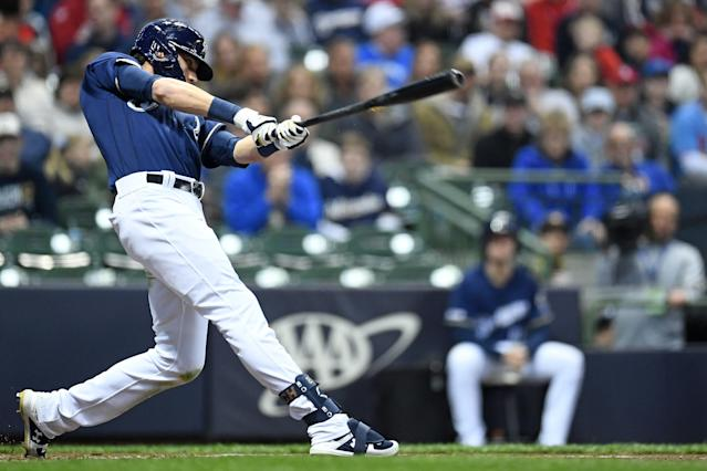 "<a class=""link rapid-noclick-resp"" href=""/mlb/players/9320/"" data-ylk=""slk:Christian Yelich"">Christian Yelich</a> has been hammering home runs at a historic pace. (Photo by Stacy Revere/Getty Images)"
