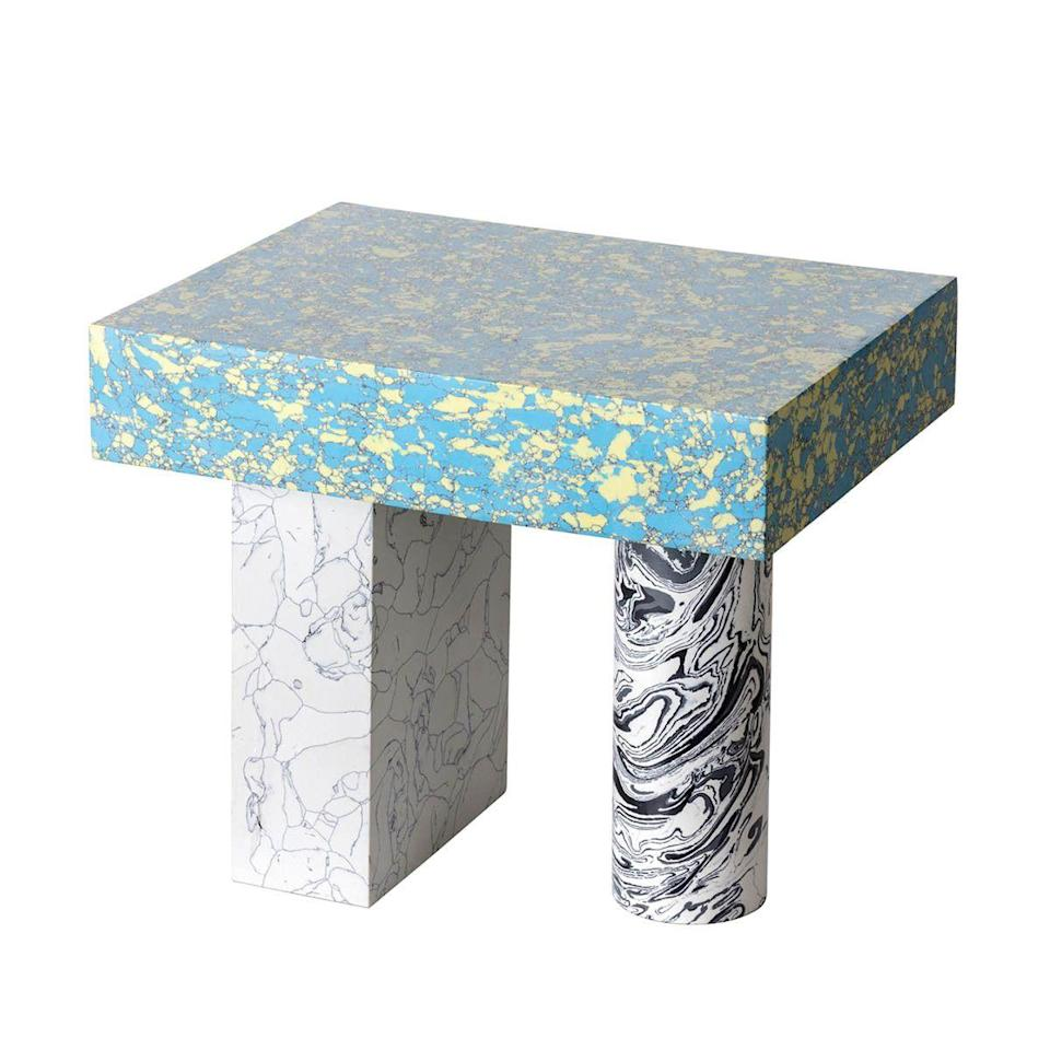 """<p>Trust Tom Dixon to do clever things with waste materials. For his 'Swirl' series, powdered residue from the marble industry is mixed with pigment and resin, which creates blocks of material that can be sawn and sliced to create different configurations. We love the substantial feel of the low table, but there are medium and tall options, too. £1,100, <a href=""""https://go.redirectingat.com?id=127X1599956&url=https%3A%2F%2Fwww.tomdixon.net&sref=https%3A%2F%2Felledecoration.co.uk%2Fdesign%2Fg37395542%2Fside-table%2F"""" rel=""""nofollow noopener"""" target=""""_blank"""" data-ylk=""""slk:tomdixon.net"""" class=""""link rapid-noclick-resp"""">tomdixon.net</a><br></p>"""