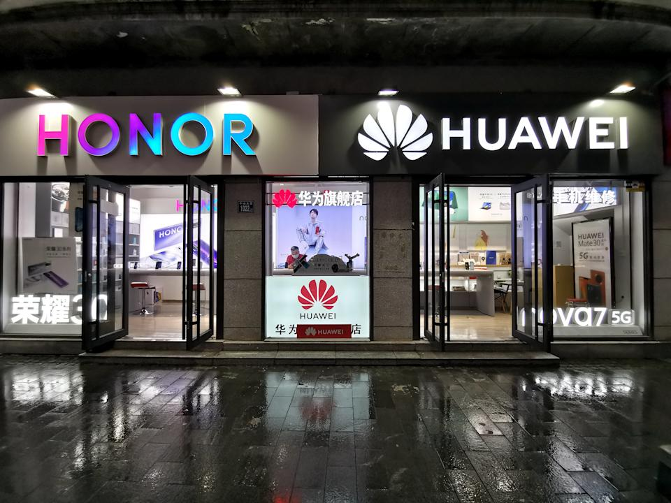 A Huawei store and an Honor store are seen on September 16, 2020 in Wuhan, Hubei Province of China