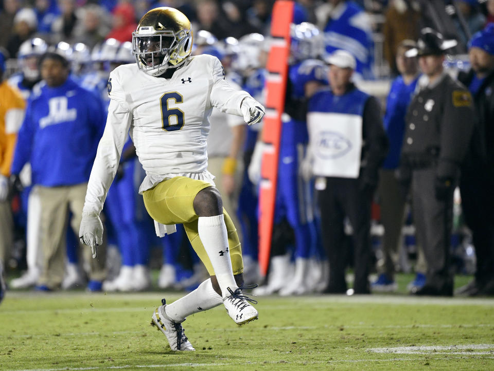 DURHAM, NORTH CAROLINA - NOVEMBER 09: Jeremiah Owusu-Koramoah #6 of the Notre Dame Fighting Irish reacts after making a tackle for a loss against the Duke Blue Devils during the first quarter of their game at Wallace Wade Stadium on November 09, 2019 in Durham, North Carolina. (Photo by Grant Halverson/Getty Images)