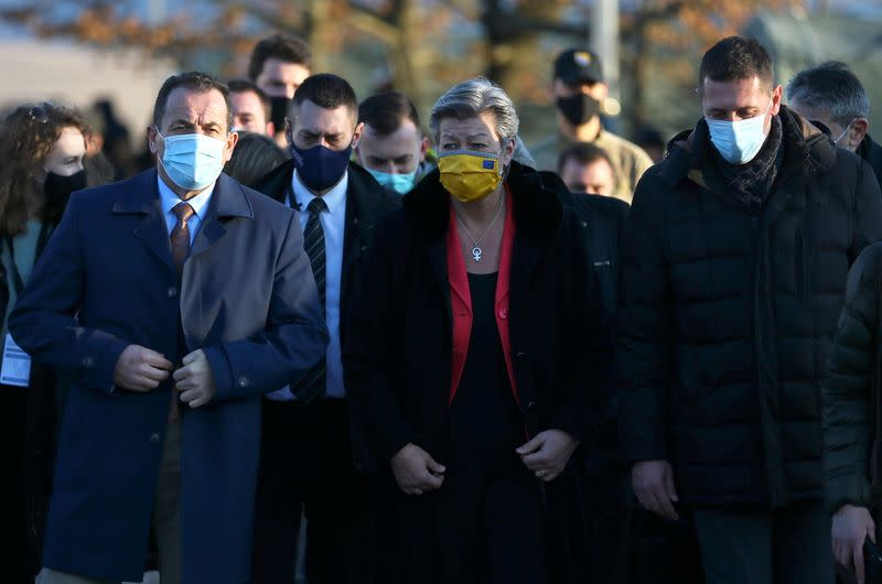 Selmo Cikotic, Minister of Security of Bosnia and Herzegovina and European Union's home affairs commissioner Ylva Johansson are seen in a migrant camp Lipa near Bihac