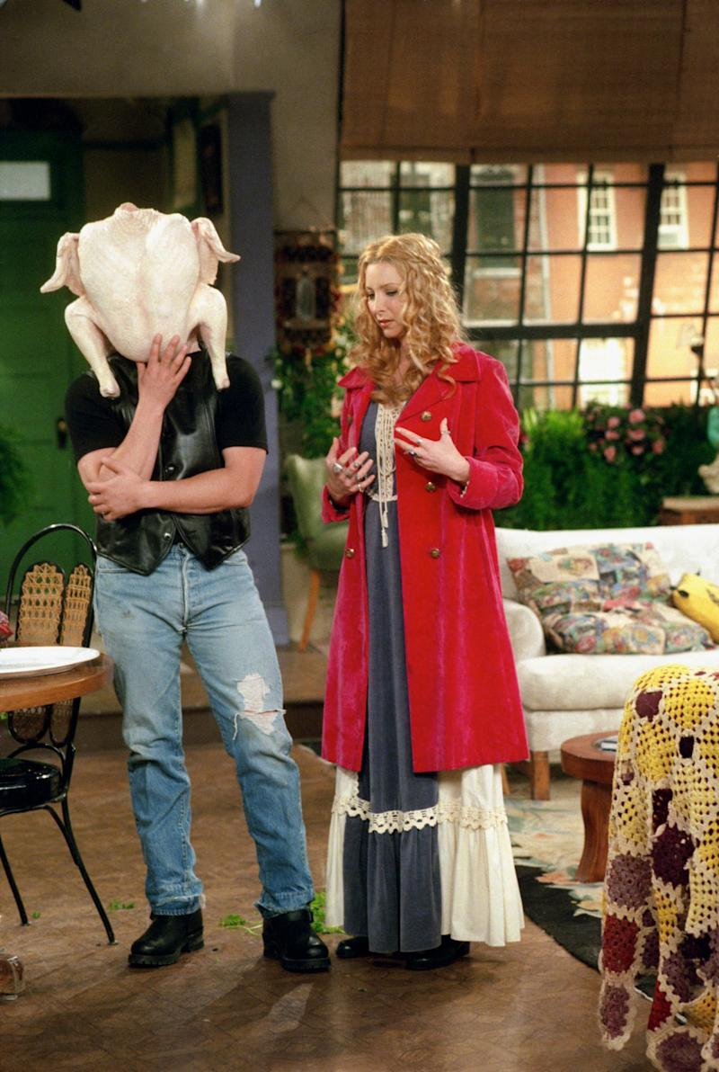 "Matt LeBlanc (left) and Lisa Kudrow (right) in the Season 5 episode entitled ""The One With All The Thanksgivings."" (Photo: Everett Collection)"