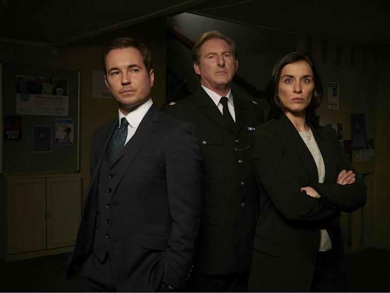 Detective Sergeant Steve Arnott (Compston), Superintendent Ted Hastings (Adrian Dunbar), Detective Sergeant Kate Fleming (Vicky McClure) in 'Line of Duty' (BBC)