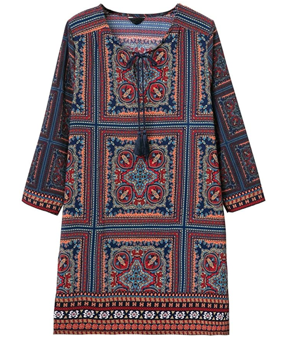 Urban CoCo Bohemian Print Shift Tunic Dress. Image via Amazon.