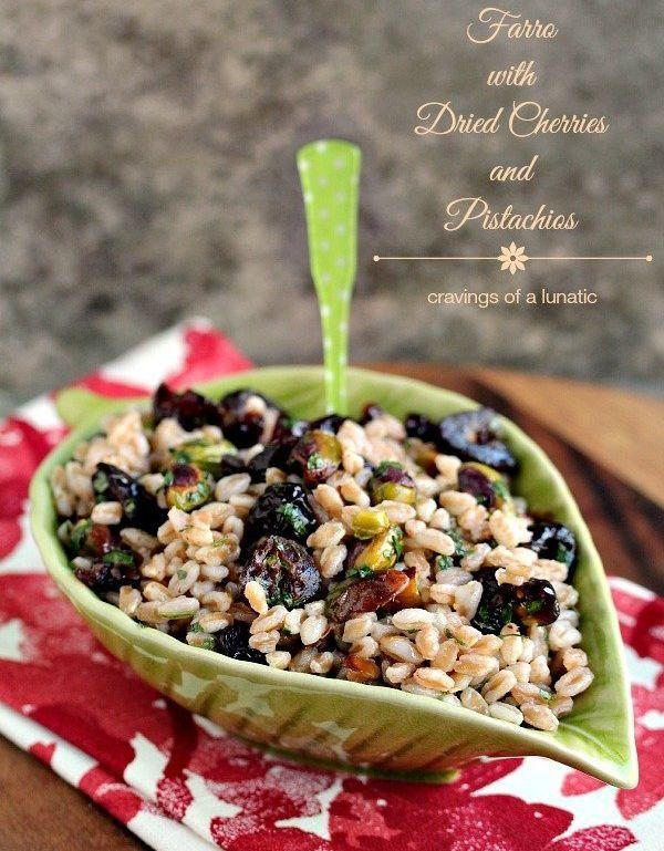 """<strong>Get the <a href=""""https://www.cravingsofalunatic.com/farro-with-dried-cherries-and-pistachios/"""" target=""""_blank"""">Farro with Dried Cherries and Pistachios</a></strong><strong><a href=""""https://www.cravingsofalunatic.com/farro-with-dried-cherries-and-pistachios/"""" target=""""_blank"""">recipe</a>fromCravings of a Lunatic</strong>"""