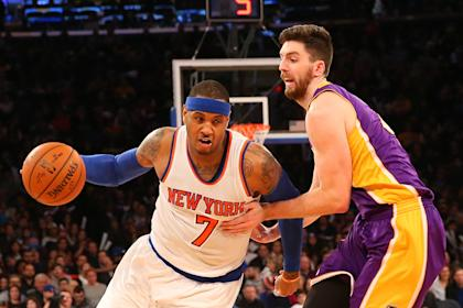 Carmelo Anthony and the Knicks have struggled in their transition to the triangle. (Anthony Gruppuso-USA TODAY Sports )