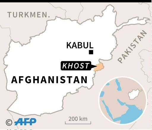 Map of Afghanistan locating Khost province