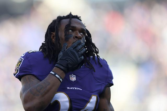 Running Back Alex Collins was arrested in Maryland after a car accident. (Photo by Patrick Smith/Getty Images)
