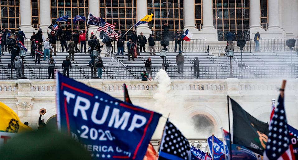 A Trump flag waves as supporters stormed the US Capitol on January 6, 2021.