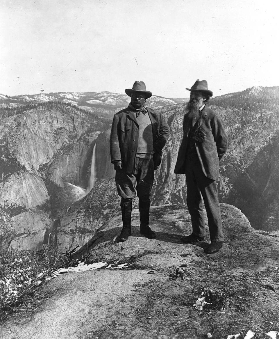 <p>An avid enthusiast of the National Park system and the great outdoors in general, Roosevelt and conservationist John Muir visited Yosemite Falls in California in 1906.</p>