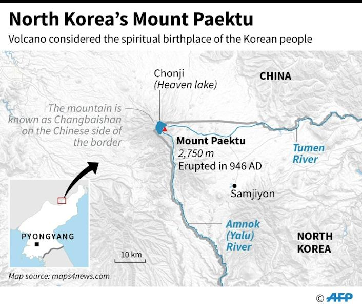 Map of the area in North Korea with Mount Paektu, a volcano considered the spiritual birthplace of the Korean people