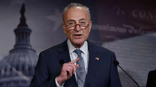 PHOTO: Senate Minority Leader Chuck Schumer speaks at a press conference on President Donald Trump's impeachment trial on Jan. 21, 2020, in Washington. (Olivier Douliery/AFP via Getty Images)